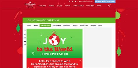 Hallmark Channel Com Sweepstakes - hallmark channel s joy to the world sweepstakes experience holiday magic around the
