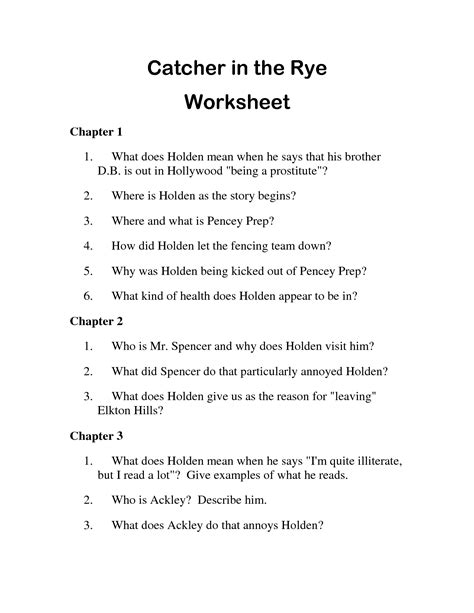 catcher in the rye chapter 17 themes 13 best images of thinking for a change worksheets hasty