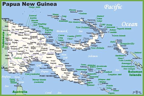 new guinea map map of papua new guinea with cities and towns