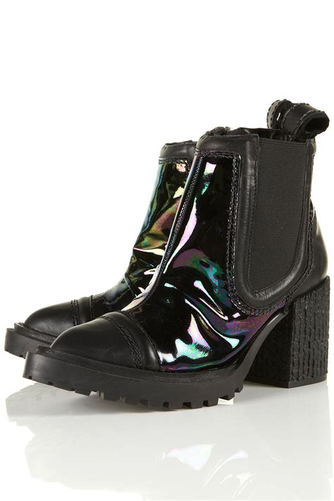unique boots lyst topshop padded toe cap boots by unique in black