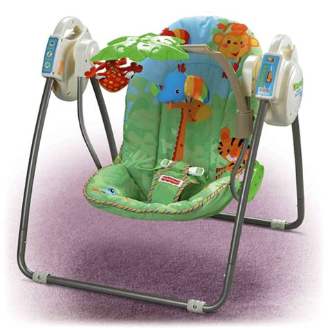 fisher price swing age rainforest open top take along swing