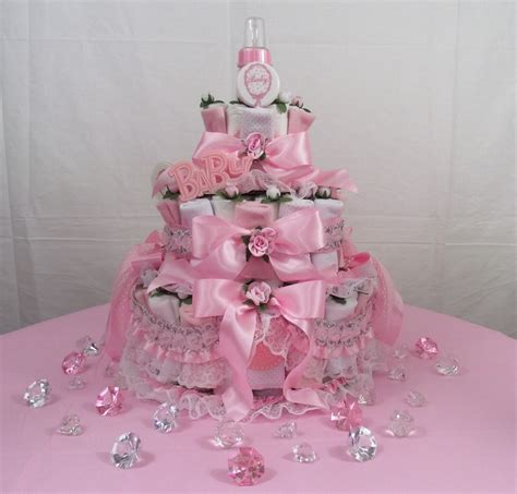 baby shower diaper cakes for boys girls babiesrus 3 tier pink baby bottle diaper cakes pdc