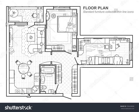 floor plan furniture collection stock image image floor plan furniture top view architectural stock vector