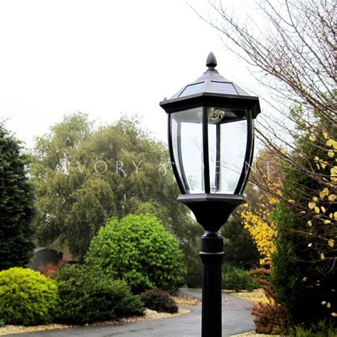 Victorian Outdoor Solar Garden L Post In Black Buy Outdoor Solar Pole Lights