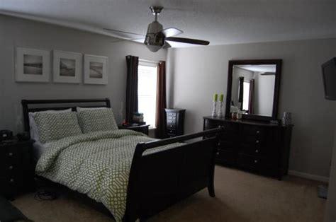grey bedroom with black furniture bedroom