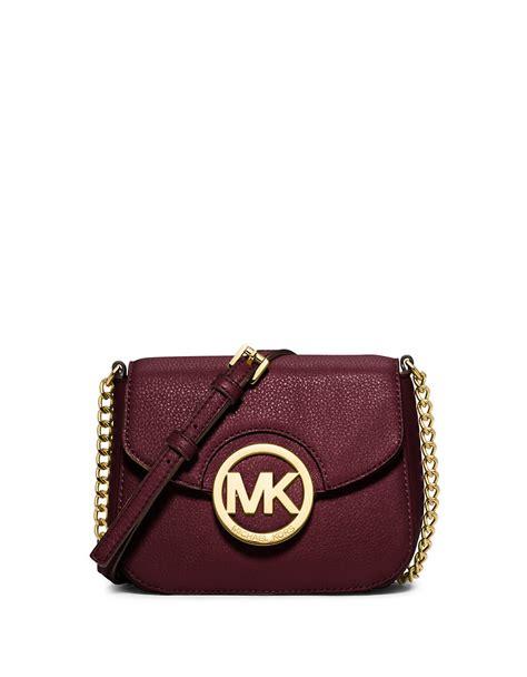 Michael Kors Small Merlot michael michael kors fulton leather small crossbody bag in purple merlot lyst