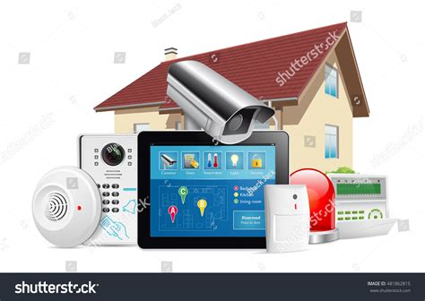 home security system concept motion detector stock vector