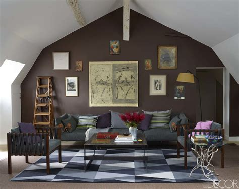 brown gray  aubergine living room interiors  color