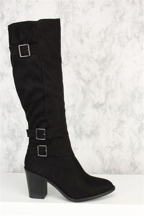 black buckle accent knee high chunky heel boots velvet suede