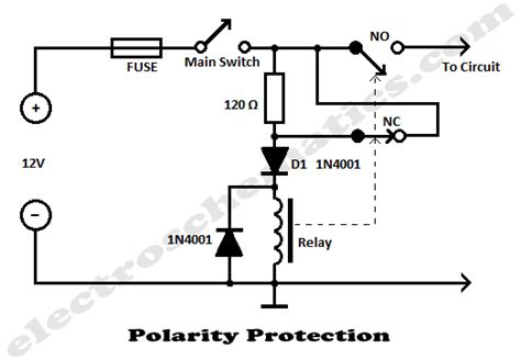 diode polarity effect polarity protection circuits diy circuit