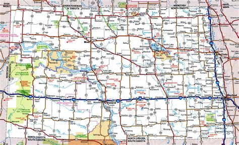 printable south dakota road map north dakota map map