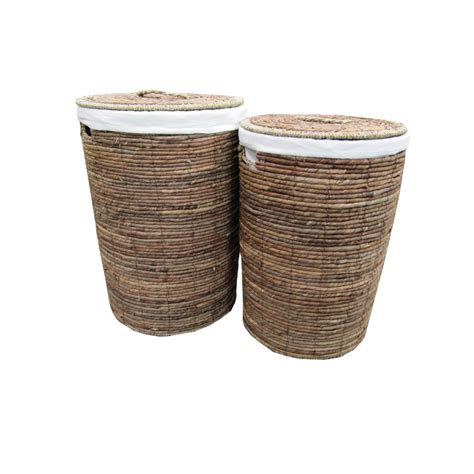 Buy Water Hyacinth Round White Laundry Basket From The Seagrass Laundry
