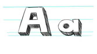 how to draw 3d letters a uppercase a and lowercase a in