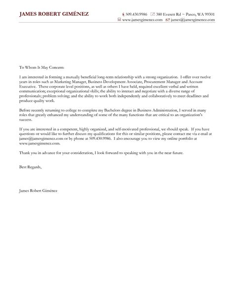 General Cover Letter For Resume