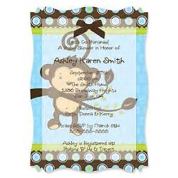 monkey boy personalized baby shower vellum overlay invitations bigdotofhappiness