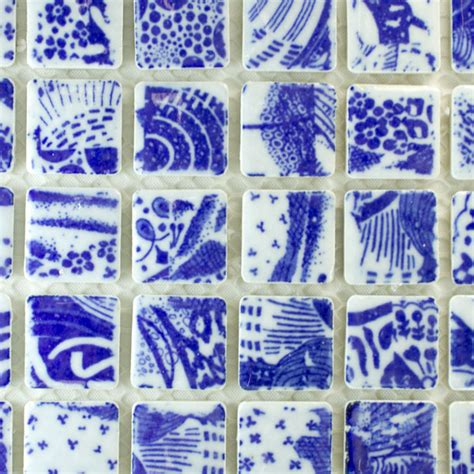 willow pattern mosaic blue willow china tiles 1 inch 30 pieces