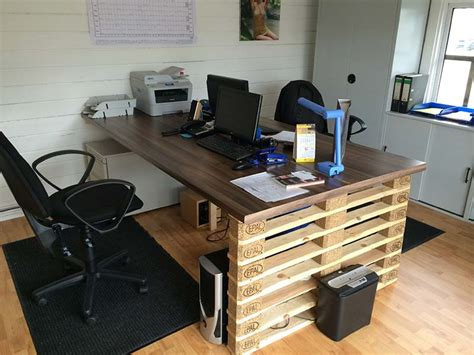 Diy Office Desk Ideas Office Desk With Europalets Endsdiy Pallet Furniture Diy Pallet Furniture