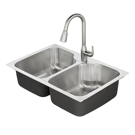Shop American Standard Tulsa 33 In X 22 In Double Basin Kitchen Sink Undermount Stainless Steel