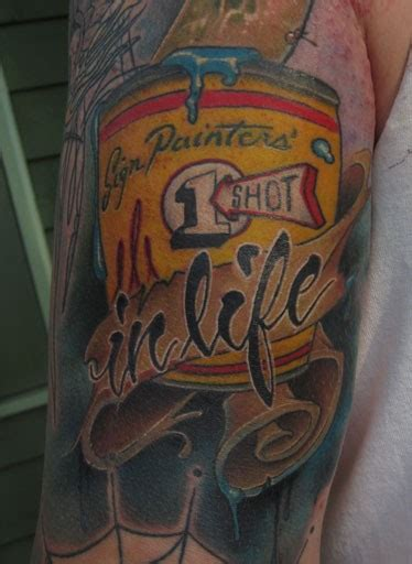 one shot pinsriping paint can custom color tattoo by jon