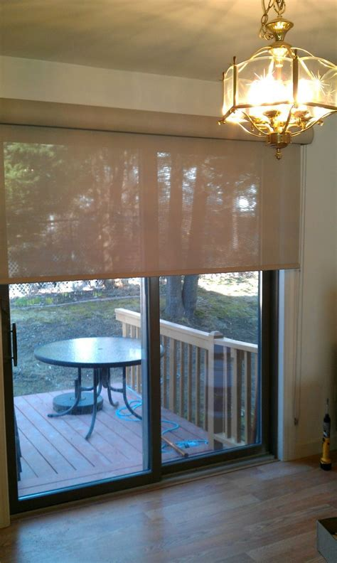 Roman Shade Wide Enough To Cover Fixed And Sliding Sliding Glass Doors Shades