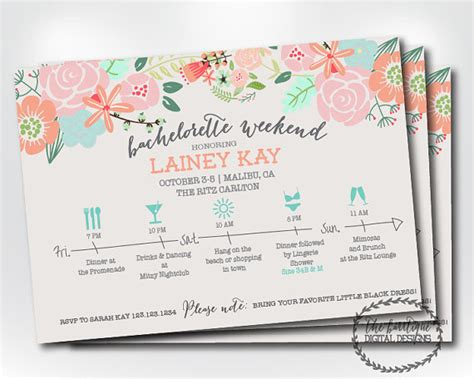 bachelorette itinerary template bachelorette itinerary invitation bachelorette weekend