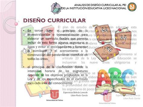 Modelo Curricular Nacional an 225 lisis de dise 241 o curricular liceo nacional de ibagu 233