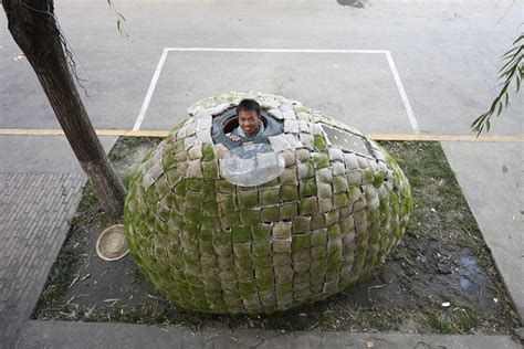 the egg house young man builds egg shaped dwelling in beijing as his
