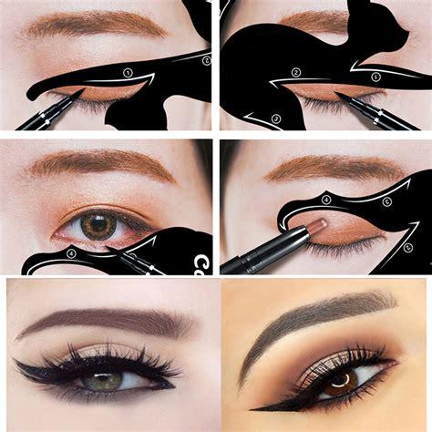 tattooed cat eyeliner cat shaped eyeliner stencil eyes liner stencil models eye