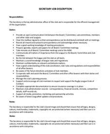 Secretaries Description by Sle Description 8 Exles In Pdf Word