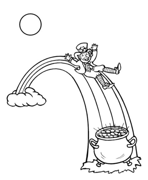 coloring page rainbow and pot of gold rainbow and pot of gold coloring pages with leprechaun