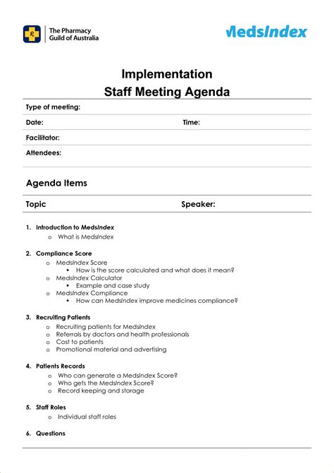agenda layout template