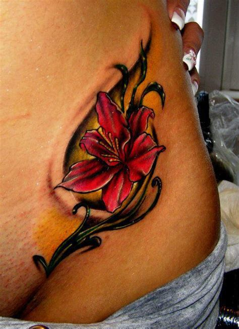 tattoo 3d flower red lilly flower female tattoofemale tattoos gallery