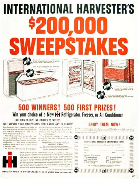 Winners International Sweepstakes - 1955 international harvester sweepstakes classic vintage print ad
