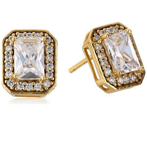 emerald cut cubic zirconia halo stud earrings gifts shop