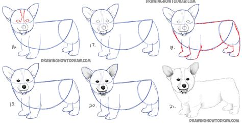 how to draw a puppy step by step how to draw a corgi puppy easy step by step realistic drawing tutorial for beginners