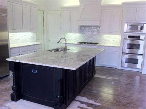 Kitchen Island Marble Marble Countertop With Black Cabinets Marble Glass Tile Backsplash White