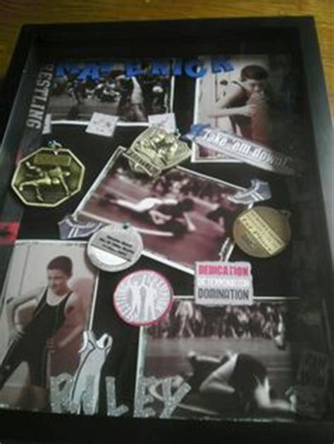 Wrestling shadow box with singlet, photos, articles, and
