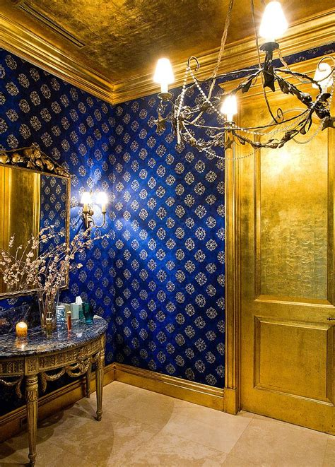 blue and gold bedroom decor how to design a picture powder room