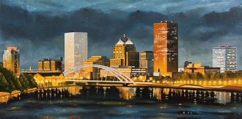 paint nite rochester rochester new york skyline at painting by nick buchanan