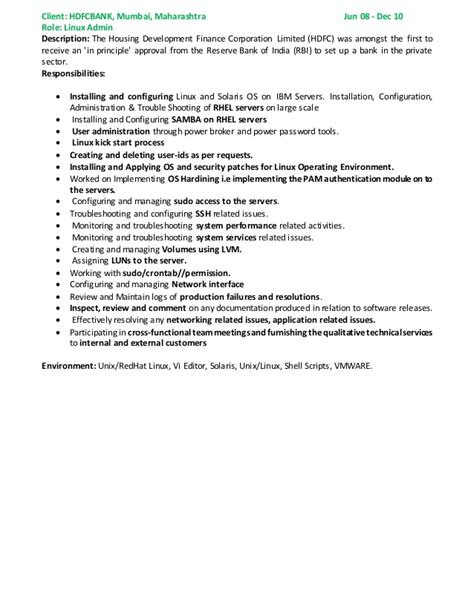 sle resumes for vmware admin rama linux solaris vmware admin resume