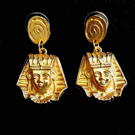 Revival And Piercing Revival Earrings Gold Pharaohs Vintage Jewelry
