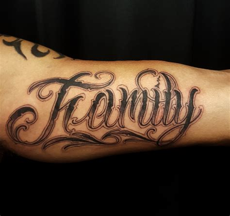 family script tattoo designs custom script on inner bicep chronic ink