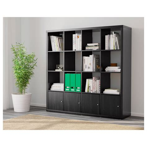 kallax shelving unit with 4 inserts black brown 147x147 cm