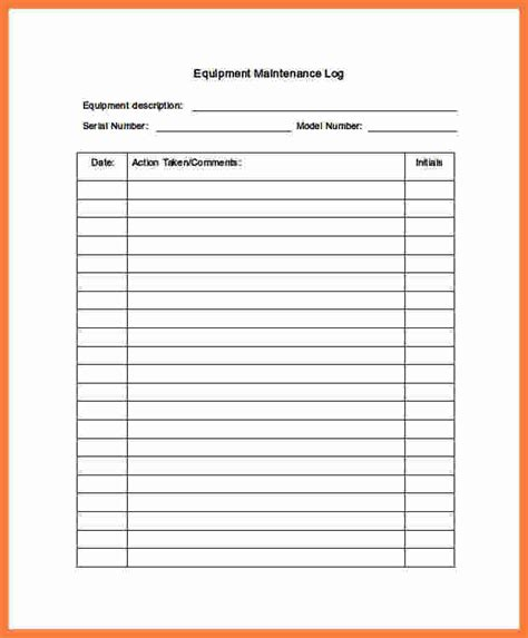 machine maintenance log template 9 equipment maintenance log marital settlements information