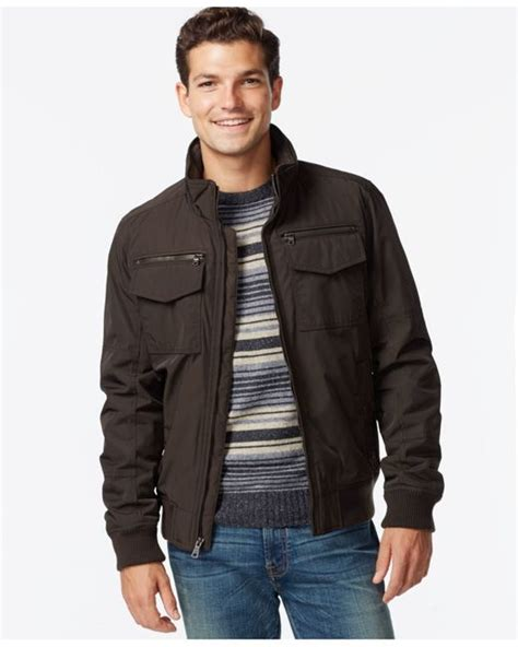 Jaket Bomber Motor Browngreen Army hilfiger performance bomber jacket in brown for army lyst