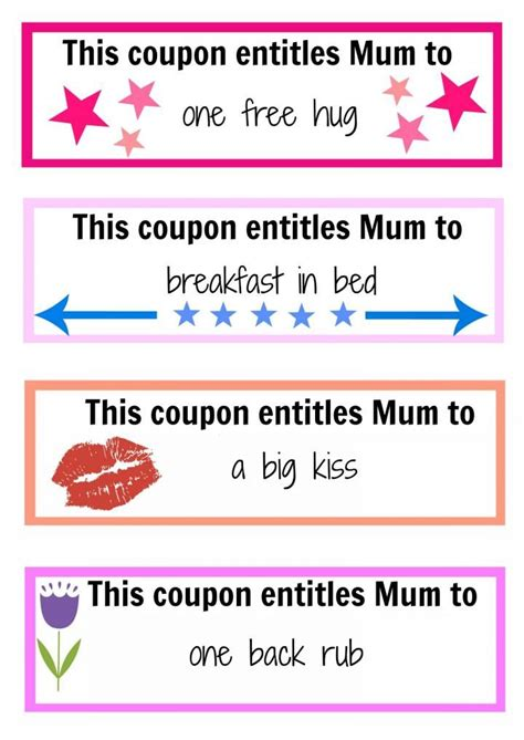 coupon ideas s day coupon booklet activities