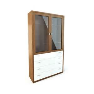 Cabinet Doors And Drawers Wood Cabinet With Glass Doors And Drawers 3d Model Cgtrader