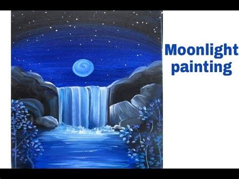 moonlight blue color moonlight landscape poster color painting tutorial