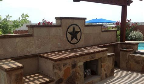 outdoor kitchen backsplash ideas 24 quot texas star in backsplash of outdoor kitchen texas