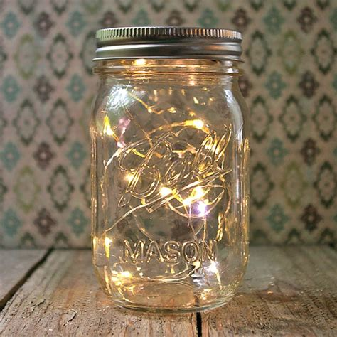 Mason Jar Light 16 Oz Pint Warm White Battery Op Fairy Lights In Jars